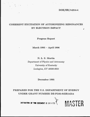 Primary view of object titled 'Coherent excitation of autoionizing resonances by electron impact. Annual report, March 1995 - April 1996'.
