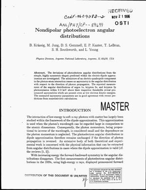 Primary view of object titled 'Nondipolar photoelectron angular distributions'.