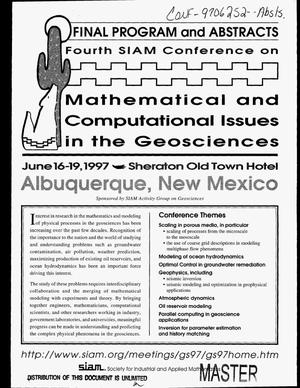 Primary view of object titled 'Fourth SIAM conference on mathematical and computational issues in the geosciences: Final program and abstracts'.