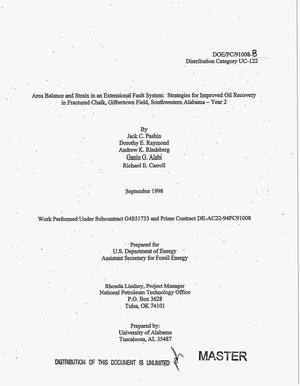 Primary view of object titled 'Area balance and strain in an extensional fault system: Strategies for improved oil recovery in fractured chalk, Gilbertown Field, southwestern Alabama -- Year 2. Annual report, March 1997--March 1998'.