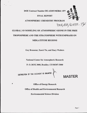 Primary view of object titled 'Global 3-D modeling of atmospheric ozone in the free troposphere and the stratosphere with emphasis on midlatitude regions. Final report'.