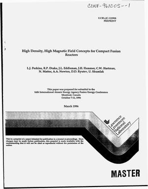 Primary view of object titled 'High density, high magnetic field concepts for compact fusion reactors'.