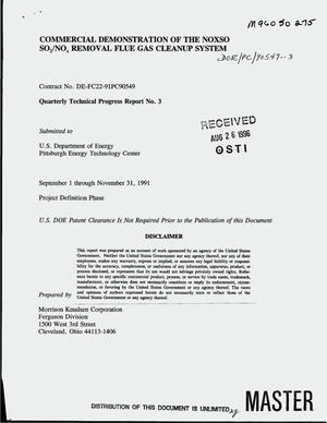 Primary view of object titled 'Commercial demonstration of the NOXSO SO{sub 2}/NO{sub x} removal flue gas cleanup system. Quarterly technical progress report No. 3, September 1--November 30, 1991'.