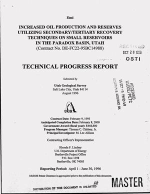Primary view of object titled 'Increased oil production and reserves utilizing secondary/tertiary recovery techniques on small reservoirs in the Paradox basin, Utah. Quarterly technical progress report, April 1, 1996--June 30, 1996'.