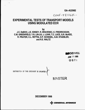 Primary view of object titled 'Experimental tests of transport models using modulated ECH'.