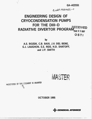 Primary view of object titled 'Engineering design of cryocondensation pumps for the DIII-D Radiative Divertor Program'.