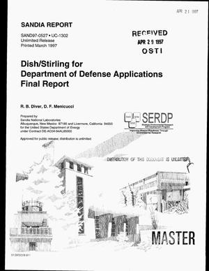 Primary view of object titled 'Dish/Stirling for Department of Defense applications final report'.