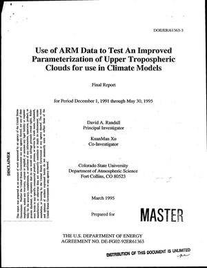 Primary view of object titled 'Use of ARM data to test an improved parameterization of upper tropospheric clouds for use in climate models. Final report, December 1, 1991--May 30, 1995'.