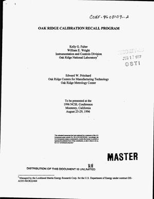 Primary view of object titled 'Oak Ridge callibration recall program'.