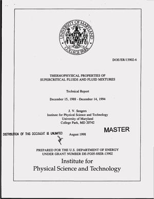 Primary view of object titled 'Thermophysical properties of supercritical fluids and fluid mixtures. Final technical report, December 15, 1988--December 14, 1994'.
