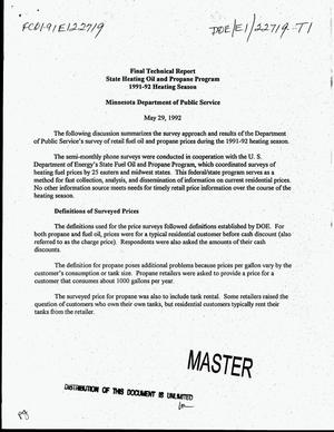 Primary view of object titled 'State heating oil and propane program: Final technical report, 1991-92 heating season, Minnesota Department of Public Service'.