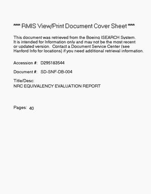 Primary view of object titled 'Nuclear Regulatory Commission equivalency evaluation report'.