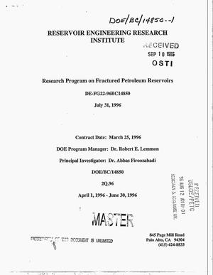 Primary view of object titled 'Research program on fractured petroleum reservoirs. Task II - new phase formation and flow in porous media. Quarterly progress report, April 1, 1996--June 30, 1996'.