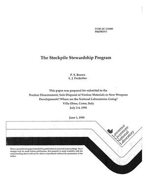 Primary view of object titled 'Stockpile stewardship program'.