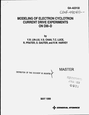 Primary view of object titled 'Modeling of electron cyclotron current drive experiments on DIII-D'.