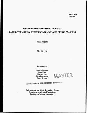 Primary view of object titled 'Radionuclide contaminated soil: Laboratory study and economic analysis of soil washing. Final report'.