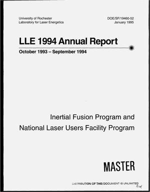 Primary view of object titled 'LLE 1994 annual report, October 1993--September 1994'.