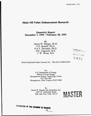 Primary view of object titled 'Shale oil value enhancement research. Quarterly report, December 1, 1994 - February 28, 1995'.
