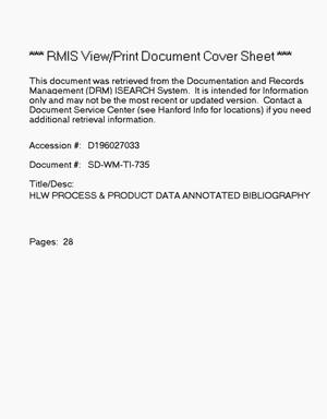 Primary view of object titled 'High-Level waste process and product data annotated bibliography'.