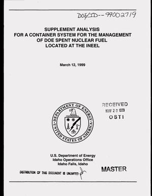 Primary view of object titled 'Supplement analysis for a container system for the management of DOE spent nuclear fuel located at the INEEL'.