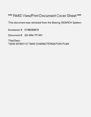 Primary view of object titled 'Tank 241-BX-112 tank characterization plan'.