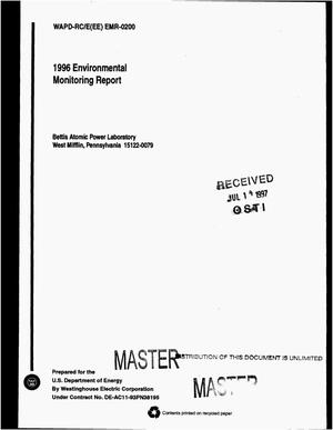 Primary view of object titled '1996 environmental monitoring report for the Bettis Atomic Power Laboratory, Pittsburgh Site'.