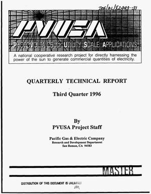 Primary view of object titled 'Phase 2 -- Photovoltaics for utility scale applications (PVUSA). Quarterly technical report, third quarter 1996'.