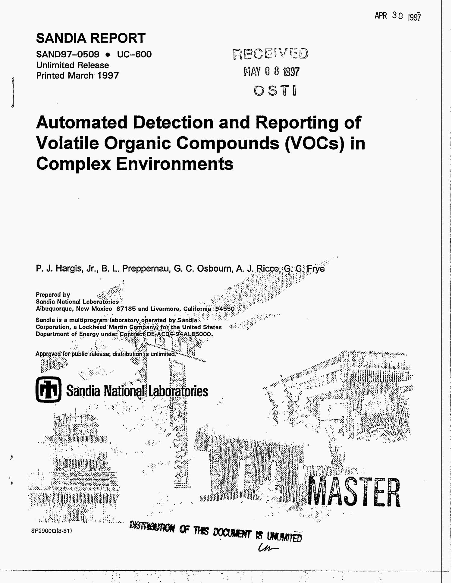 Automated detection and reporting of Volatile Organic Compounds (VOCs) in complex environments                                                                                                      [Sequence #]: 1 of 27