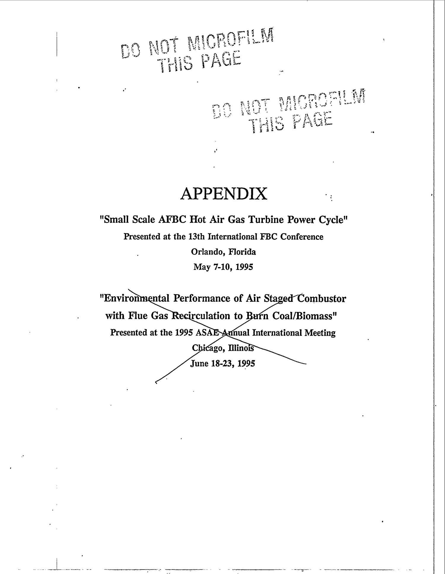 Small scale AFBC hot air gas turbine power cycle Digital Library
