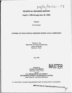 Primary view of object titled 'Control of trace metal emissions during coal combustion. Technical progress report, April 1, 1996--June 30, 1996'.