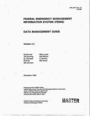 Primary view of object titled 'Federal Emergency Management Information System (FEMIS) Data Management Guide Version 1.3'.