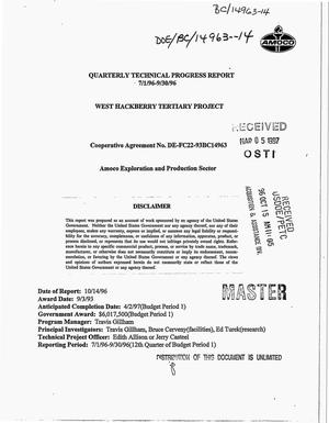 Primary view of object titled 'West Hackberry Tertiary Project. Quarterly technical progress report, July 1--September 30, 1996'.