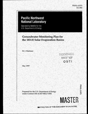 Primary view of object titled 'Groundwater monitoring plan for the 183-H Solar Evaporation Basins'.