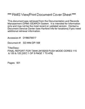 Primary view of object titled 'Final report for tank 241-B-203, push mode cores 115, 120 and 122'.