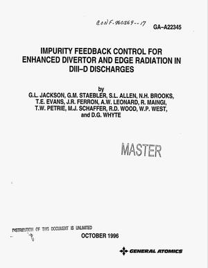 Primary view of object titled 'Impurity feedback control for enhanced divertor and edge radiation in DIII-D discharges'.