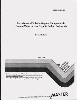 Primary view of object titled 'Retardation of volatile organic compounds in ground water in low organic carbon sediments'.