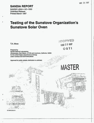 Primary view of object titled 'Testing of the Sunstove Organization`s Sunstove Solar Oven'.