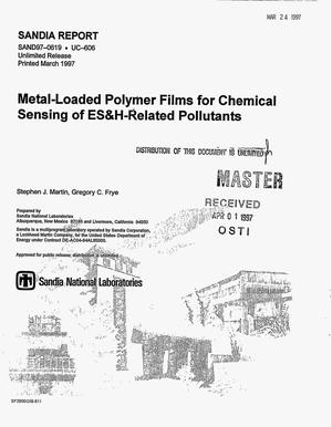 Primary view of object titled 'Metal-loaded polymer films for chemical sensing of ES&H-related pollutants'.