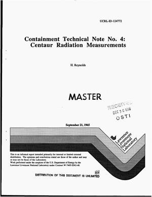 Primary view of object titled 'Containment Technical Note No. 4: Centaur radiation measurements'.