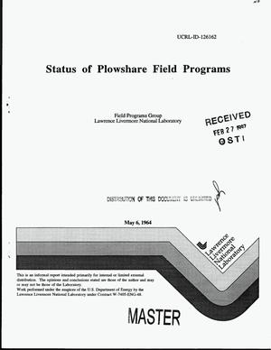 Primary view of object titled 'Status of Plowshare field programs'.