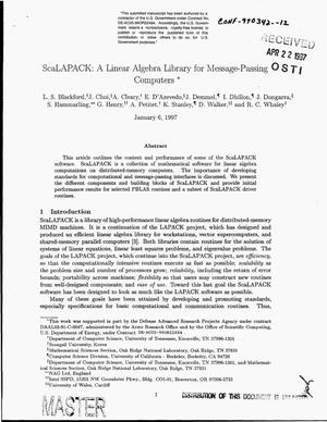 Primary view of object titled 'ScaLAPACK: A linear algebra library for message-passing computers'.