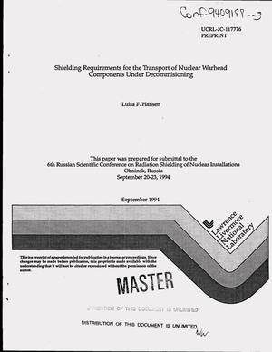 Primary view of object titled 'Shielding requirements for the transport of nuclear warhead components under decommissioning'.