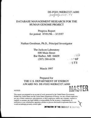 Primary view of object titled 'Database management research for the Human Genome Project: Progress report, 7/1/96-3/15/97'.