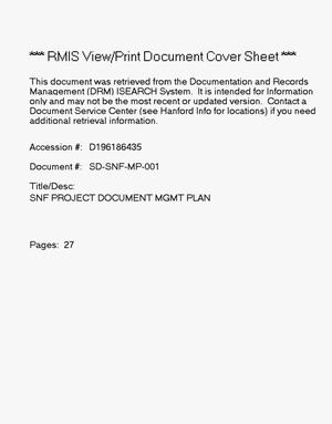 Primary view of object titled 'Spent Nuclear Fuel Project Document Management Plan'.