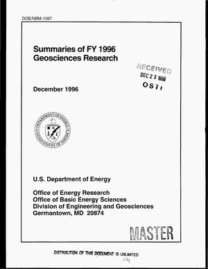 Primary view of object titled 'Summaries of FY 1996 geosciences research'.