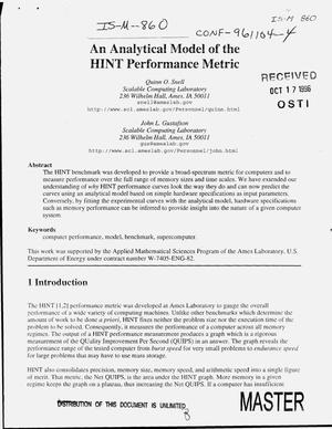 Primary view of object titled 'An analytical model of the HINT performance metric'.