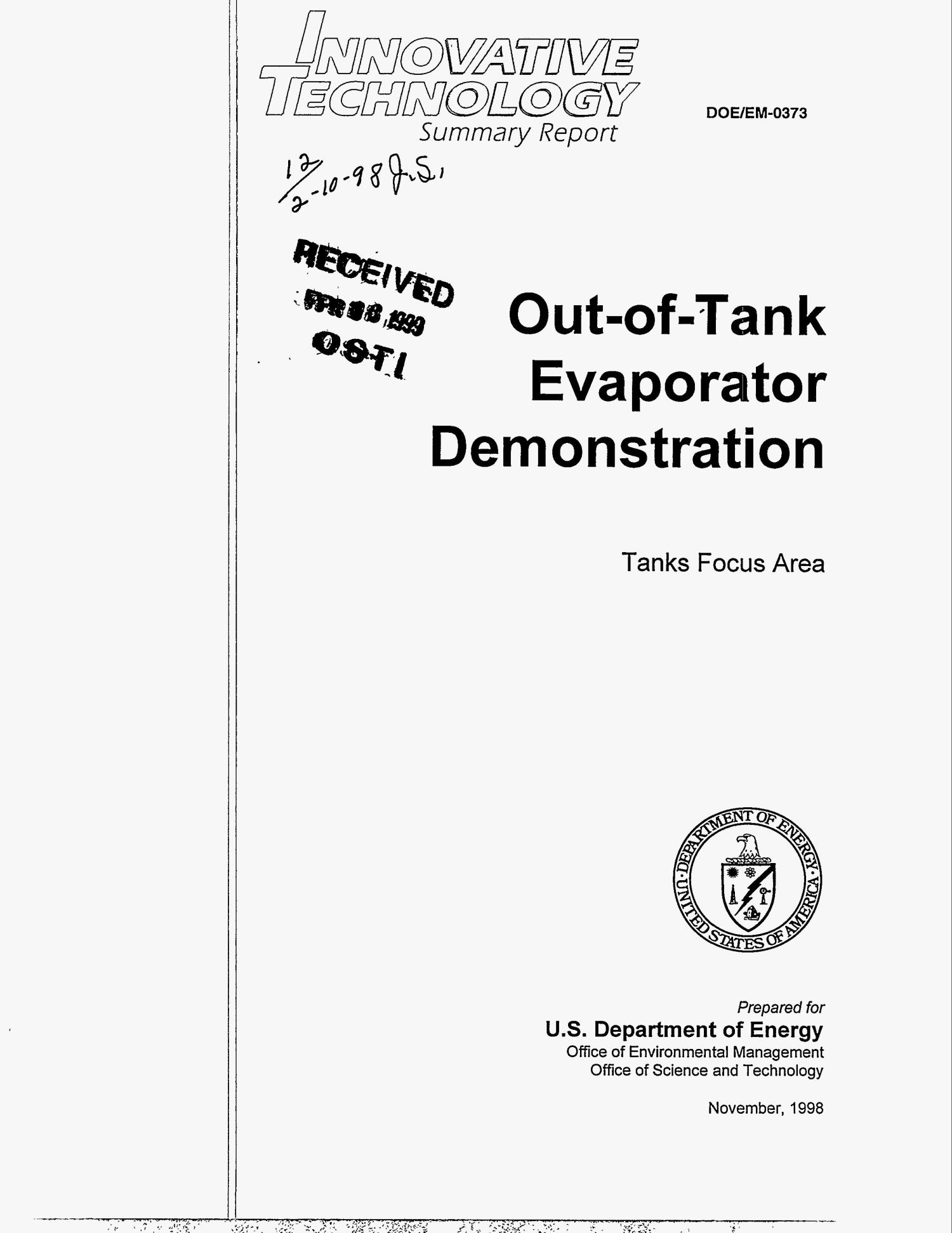 Out-of-tank evaporator demonstration: Tanks focus area                                                                                                      [Sequence #]: 1 of 25