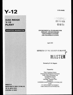 Primary view of object titled 'Environmental standards for primary and secondary containment systems and transfer stations'.