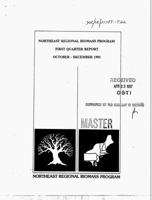 Primary view of object titled 'Northeast regional biomass program. First quarter report, October--December 1993'.