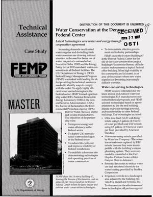 Primary view of object titled 'Federal Energy Management Program technical assistance case study: Water conservation at the Denver Federal Center'.